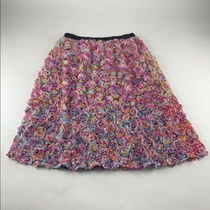 Leith 3D Rainbow Floral Mesh Skirt XL